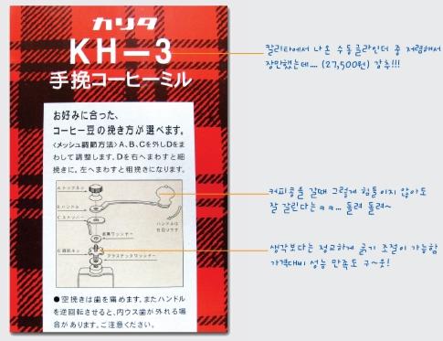 칼리타(Kalita) KH-3 그라인더 (클릭하면 왕~~ 커짐)
