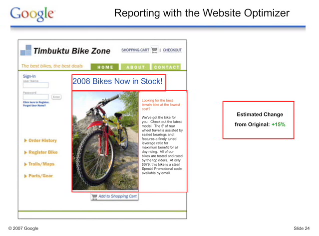 Google Website Optimizer - result