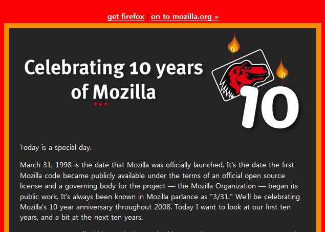 Celebrating 10 years of Mozilla