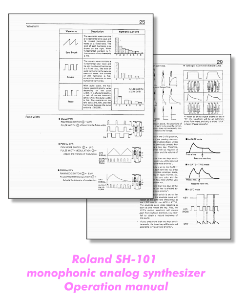 Celluloide :: Roland SH-101 operation manual