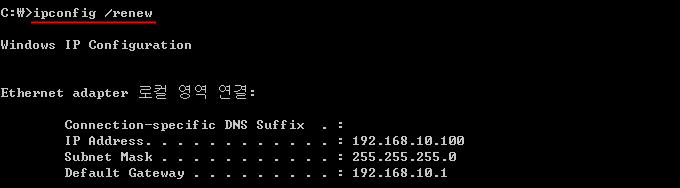 명령 프롬프트 ipconfig /renew