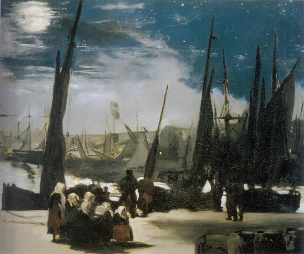 <Edouard Manet, Clair de lune sur leport de Boulogne, 1869, 92x101cm, Huile sur toile>